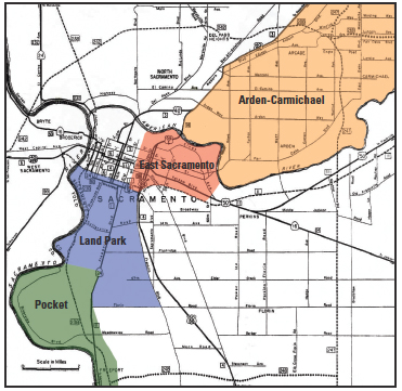 The reach of our four community newspapers, The Pocket News (in green), The Land Park News (in blue), the East Sacramento News (in red), and the Arden-Carmichael News (in orange).