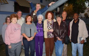 The local committee dedicated to bringing burlesque back to the capital city gathers outside the VFW Post 67 Hall in Sacramento following the group's second meeting. (Photo by Lance Armstrong)