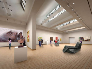 Spacious new art galleries will let in natural light for viewing, but without the damaging effects UV light has on artwork. (Renderings courtesy of the Crocker Art Museum)