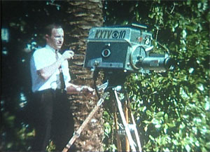 Along with the station's first photographer, Paul Meeks, Channel 10's first anchorman Hank Thornley Thornley assisted in bringing a greater dimension to the station's news reporting, as he worked with Meeks to add related film footage to the local newscasts. (Photo courtesy KXTV Channel 10)