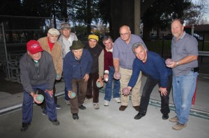 (Left to right) Ottavio Luchini, Dante Urbani, Phil Brakebill, Ciro Negri, Sivio Mariotti, Gerard Sharp, Jim Fellos, Bob Martinez and Vern Cooper are among the most active members of the East Portal Bocce Club. (Photo by Lance Armstrong)