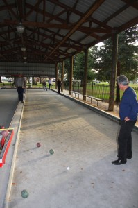 East Portal Park includes four covered bocce courts, like the two shown above. (Photo by Lance Armstrong)