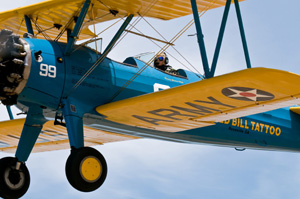 Nancy Ginesi-Hill brought the Stearman back to Eagle Field June 12 for the first time in 65 years. (Photo courtesy Wild-Bills.com)