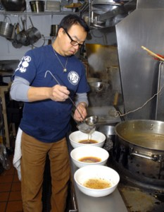 Each bowl of ramen is prepared individually by Yasushi Ueyama from broths that take six to eight hours to prepare. (Photo by Tom Paniagua)