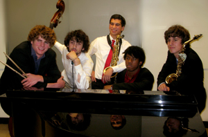 Pictured here in 2009 with fellow Rio Americano High School band members, Nathan Swedlow, second from left, Zachary Darf, center, and Zach Giberson, far right, were among the students in the band program chosen to participate in the Charles Mingus High School Competition and weekend festival at the Manhattan School of Music in New York City February 12 – 15, 2010. (File photo courtesy Leslie Barger)