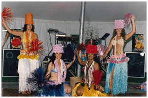 (Left to right) Debbie Kassis, Turia Giles, Evelyn Meredith and Cheryl Cook were among the many dancers to perform at the Zombie Hut. (Photo courtesy of Cheryl Cook)