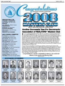 Download a sample of last year's Masters Club section using the link below. Reminder: the 2009 version is in black and white; the 2010 version will be in full color.
