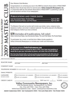 Download the Masters Club section registration form using the links at the left and reserve your space immediatley.