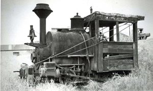 This c. 1960 photograph shows one of the locomotive engines, which pulled the cars that transported clay from the clay pit to the factory at the Sacramento Brick Co. on Riverside Road. (Photo courtesy of PHCS)