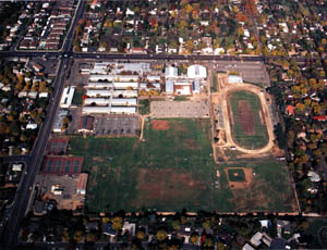 El Camino High School is shown from above in this February 1991 aerial photograph. (Photo courtesy of El Camino High School)