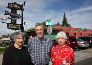 Pictured left to right, Paula (Luigi) Serrano, Perry Luigi and Karen (Luigi) Zito are the owners of East Sacramento's historic Español Restaurant at 58th Street and Folsom Boulevard. (Photo by Lance Armstrong)