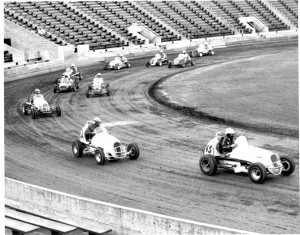 Midget car racers round the track at Hughes Stadium in 1962. (Photo courtesy of Tom Motter/Jerry Trueblood Photo)