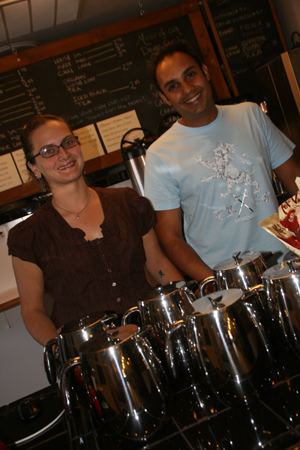 United Coffee House, located at 2114 Sutterville Rd. and specializing in fair-trade coffee, opened two months ago by young entrepreneurs Harjinder Singh and Tiffany Colby. (Photo by Ryan Rose)