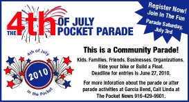 The annual Fourth of July Spirit of the Pocket Parade is being held on July 3 this year.