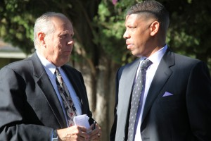Frank Cook, president of Cook Realty, speaks with Sacramento Mayor Kevin Johnson about the current state of the economy and the real estate industry. (Valley Community Newspapers photo/Stephen Crowley)