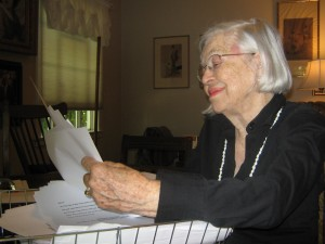 A labor of love. Gloria Bagby looks over the pages of the manuscript of her memoir that recounts her family's time on the island of Corregidor before World War II. / Valley Community Newspapers photo by Art German