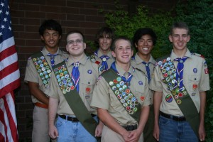 New Eagle Scouts. These young men received their Eagle Scout award on Aug. 29. Left to right, left to right, Andrew Fong, Randall Plant, Andrew Shirley, Mason Kassis, Hyun Cheol Kim and Michael Signorotti. / Photo courtesy of Craig Fong