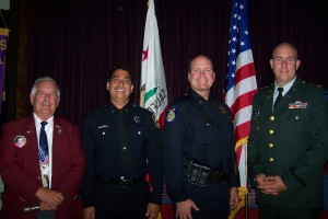 Patriots were recognized at the Patriot Day celebration held by Elks Lodge No. 6 on Sept. 11. Left to right, Ron Brusato, Fire Captain Mark Ramirez, Police Captain Jim Maccoun and Police Officer Jeffery Silva. / Valley Community Newspapers photo by Linda Pohl