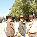 Cowboys Harry Bruce, Nick Batteate, and Gary Bruce roams the streets of old Sacramento.