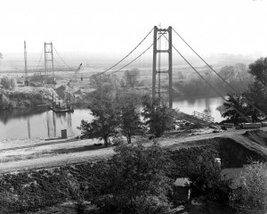 The Guy A. West Memorial Bridge is shown under construction in this 1966 photograph. / Photo courtesy of California State University, Sacramento Archives