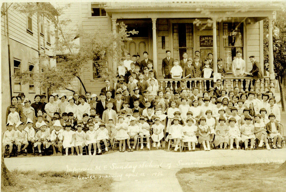 Sunday school class members gather outside the Japanese Methodist Church of Sacramento at 331 O St. in 1936. / Photo courtesy of SJUMC