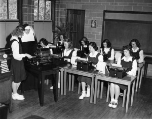 "St. Francis students of yesteryear learned, in addition to their regular studies, home arts such as sewing by hand, social graces to ""sit like a lady"" and office skills such as typing. / Photo courtesy of St. Francis High School"