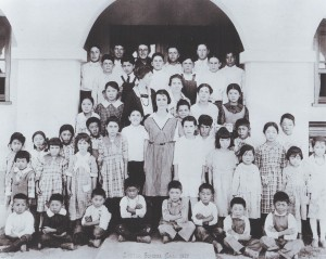Students of Sutter School gather for this 1921 photograph with their teacher, Miss Blackwell (third row, third from left), and Gertrude Campbell, principal/teacher (left of Blackwell). / Photo courtesy of PHCS