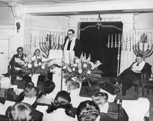 From left to right, President Dalton Feldstein, Rabbi Phineas Smoller of Los Angeles, Rabbi Irving Hausman of Congregation B'nai Israel and Rabbi Maurice Eisendrath, president of the UAHC (now Union for Reform Judaism) participate in the temple's 100th anniversary service on Jan. 18, 1952. / Photo courtesy of Congregation B'nai Israel