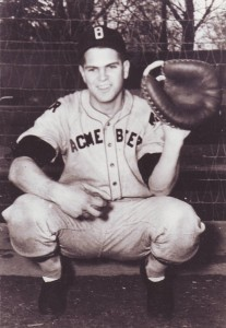 Ron King, who was a catcher during his baseball playing days, is shown in this c.1945 photograph. / Photo courtesy of Ron King