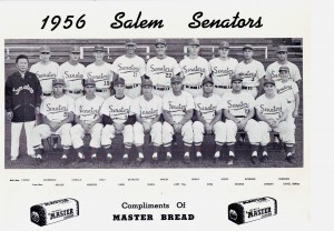 Ron King, shown sixth to right in the front row, was a player-coach for the Salem Senators of the Northwest League. / Courtesy of Ron King.