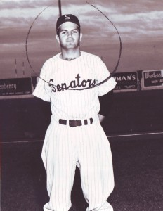 Ron King is shown in his Salem Senators uniform in this c. 1955 photograph. The circle drawn around his head indicates that he was selected to play on the team. / Photo courtesy, Ron King