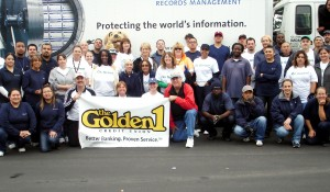 Golden 1 and Iron Mountain teams celebrate a successful shred event.