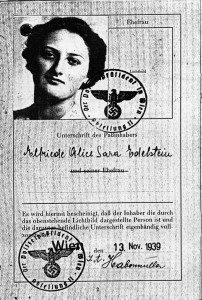 Alice Edelstein's passport. Note the Nazi immigration stamp and the year, 1939. / Photo courtesy of Nora Steiner Mealy