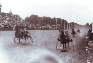 This horseracing track in Woodland was owned by Charles F. Silva from 1916 to 1921. To the right forefront of the photograph is Silva and his record-breaking horse, Teddy Bear. / Photo courtesy of PHCS