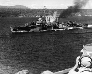 The USS Hopewell off the coast of Corregidor during World War II. / Public domain image