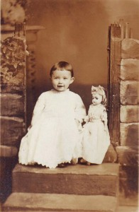 Genevieve Moore is pictured with her doll in late 1909. / Photo courtesy, Genevieve Cobb