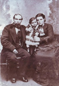 Manuel Da Rosa Garcia and Ana Leonora (Silveira) Garcia are shown with their daughter, Mary, in about 1879. / Photo courtesy of PHCS