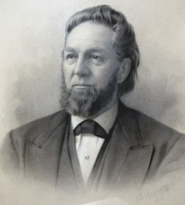 The Rev. Joseph Augustine Benton, shown in this historic drawing, served as the church's first pastor from 1849 to 1863. / Image courtesy of Pioneer Congregational Church