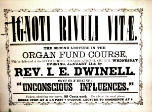 This flyer advertises for the Jan. 11, 1865 lecture by the church's second pastor, the Rev. Isaac Edson Dwinell. The event raised funds for the purchase of the church's organ, which was acquired during the following month. /Photo courtesy of Pioneer Congregational Church
