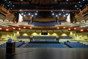 Stage One is an 850-seat theater with a 46-foot long proscenium, a full stage house, and an orchestra pit. It will accommodate performers from across the artistic spectrum, from Broadway touring shows to symphonies to modern dance performances. Its design is modeled on the famous Globe Theatre in England. / Valley Community Newspapers photo, Tom Paniagua