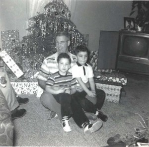 Bernie Hart enjoys the company of his nephew, Rick Dixon, and his son, Tom Hart, on Christmas day in 1958. / Photo courtesy, Tom Hart