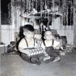 Gary Stonehouse enjoys his first Christmas with his brother Bob Stonehouse in this 1949 photograph. / Photo courtesy, Gary Stonehouse