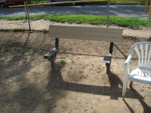 Repairs on this park bench with a missing seat will be paid for with funds donated to the CRPD foundation. / Photo courtesy, CRPD