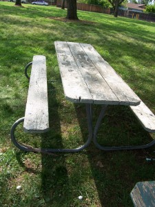 This dilapidated picnic table is among the items that can be repaired with foundation funds. / Photo courtesy, CRPD