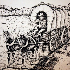 Joe Waxon used a prairie schooner, like the one shown above, to transport turtles from the San Francisco Bay Area to the Pocket area, and also to deliver produce to miners in the foothills and mountains. / Photo courtesy