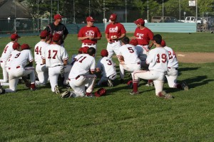 "Members of the McClatchy JV baseball team ""listen up"" as assistant coach Alan Donato shares some tips on playing the game. / Photo courtesy"