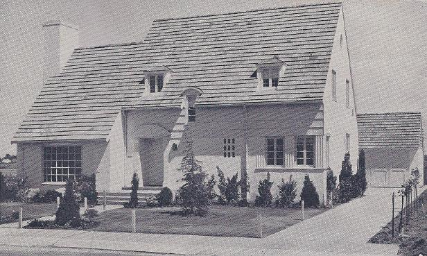 Lucky Manor, seen here in 1935, made national history as the first demonstration home built under the National Housing Act of 1934. Built by the Modernize Sacramento Committee, the home was viewed as an important catalyst to re-boot the flailing Sacramento economy at the bottom of the Great Depression. / Photo courtesy, Janet Gatejen
