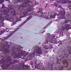 East Sacramento's historic Sutter Lawn Tennis Club is shown from above in this 1968 photograph. / Photo courtesy of SLTC