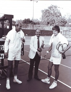 Tennis players Stan Smith (left) and Eric Van Dillon stand on each side of Jim Tyler, Sutter Lawn's board president, in this 1972 photograph. Photo courtesy of SLTC
