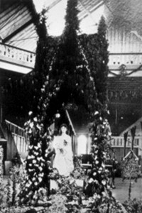This floral display, which was a tribute from the Congregational Church, which was located at 909 6th St., was among the many exhibits that decorated the interior of the Pavilion on May 6, 1885. / Photo courtesy, Crocker Art Museum